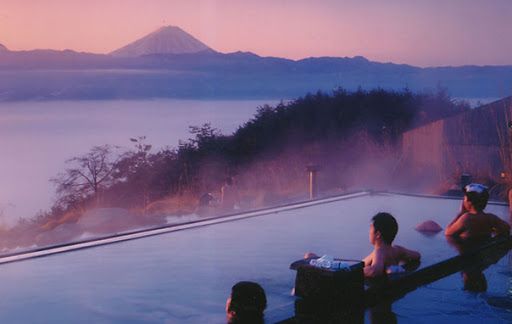 Onsen with fuji views